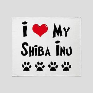 I Love My Shiba Inu Throw Blanket
