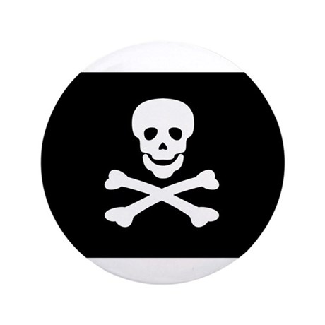 "Black Pirate Flag 3.5"" Button"