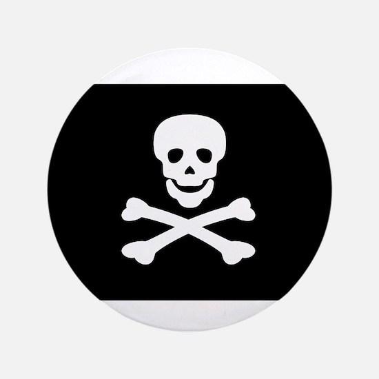 "Black Pirate Flag 3.5"" Button"