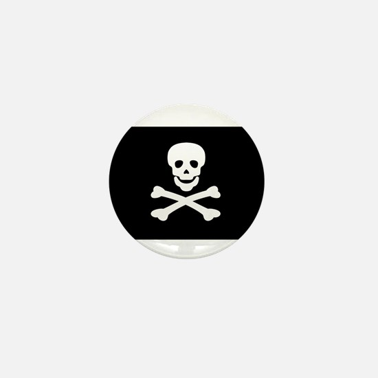 Black Pirate Flag Mini Button