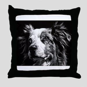 Dramatic Australian Shepherd Throw Pillow