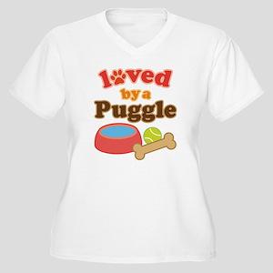 Puggle Dog Gift Women's Plus Size V-Neck T-Shirt