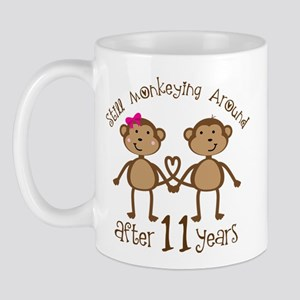 11th Anniversary Love Monkeys Gift Mug