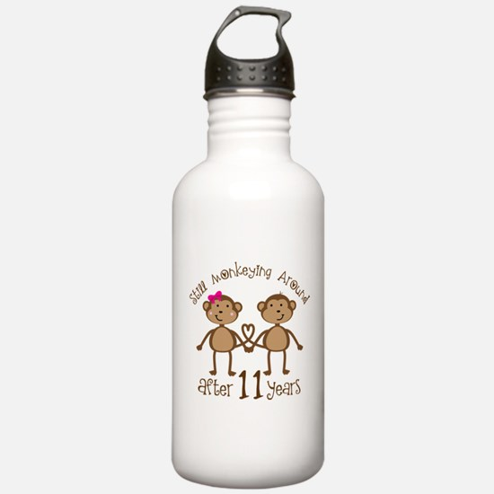 11th Anniversary Love Monkeys Gift Water Bottle