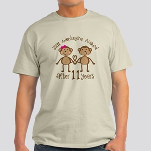 11th Anniversary Love Monkeys Gift Light T-Shirt