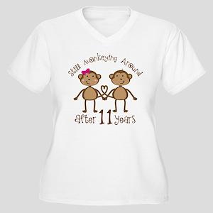 11th Anniversary Love Monkeys Gift Women's Plus Si