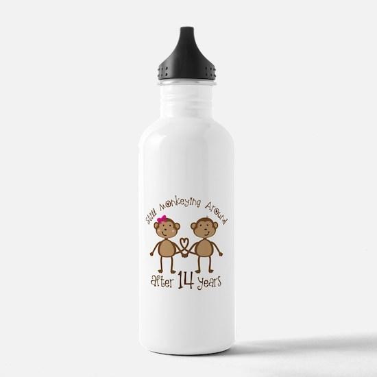 14th Anniversary Love Monkeys Water Bottle