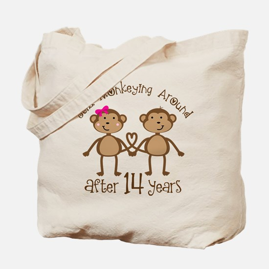 14th Anniversary Love Monkeys Tote Bag