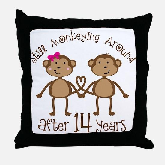 14th Anniversary Love Monkeys Throw Pillow