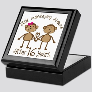 16th Anniversary Love Monkeys Gift Keepsake Box