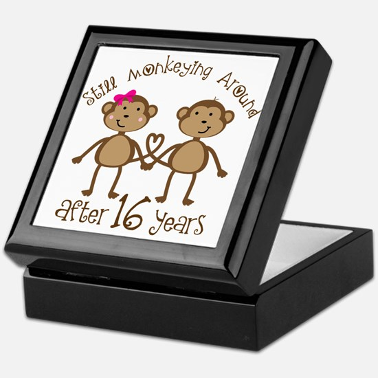 16th Anniversary Love Monkeys Gift Keepsake Box