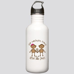 16th Anniversary Love Monkeys Gift Stainless Water