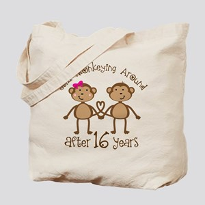 16th Anniversary Love Monkeys Gift Tote Bag