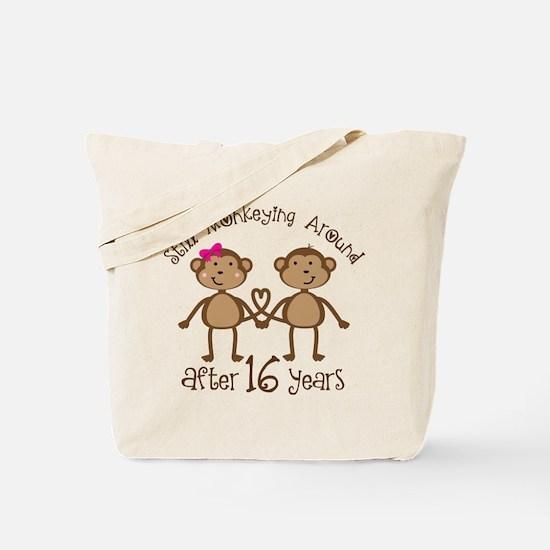 16th Anniversary Love Monkeys Gift Tote Bag