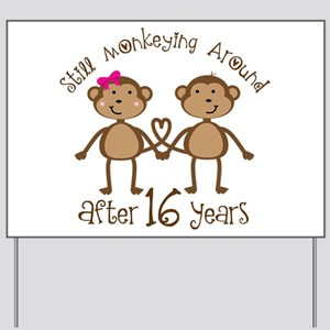 16th Anniversary Love Monkeys Gift Yard Sign