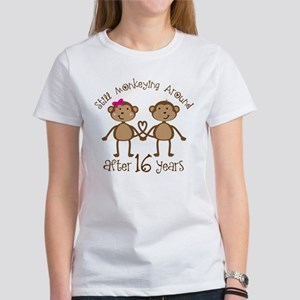 16th Anniversary Love Monkeys Gift Women's T-Shirt