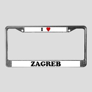 I Love Zagreb License Plate Frame