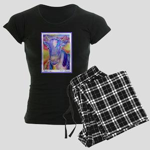 Cow! Purple cow art! Women's Dark Pajamas