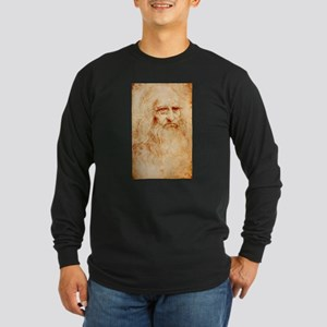Self protrait of Leonardo Da Long Sleeve Dark T-Sh