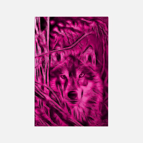 Pink Night Warrior Wolf Rectangle Magnet