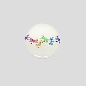Rainbow Dragonflies Mini Button