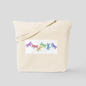 Rainbow Dragonflies Tote Bag