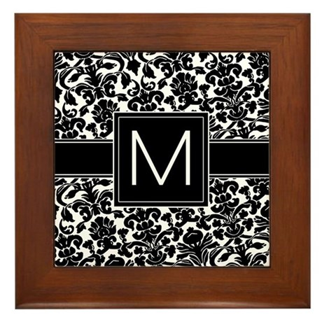 Monogram Letter M Framed Tile