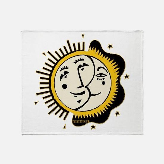 Sun Moon and Stars Yin Yang Throw Blanket