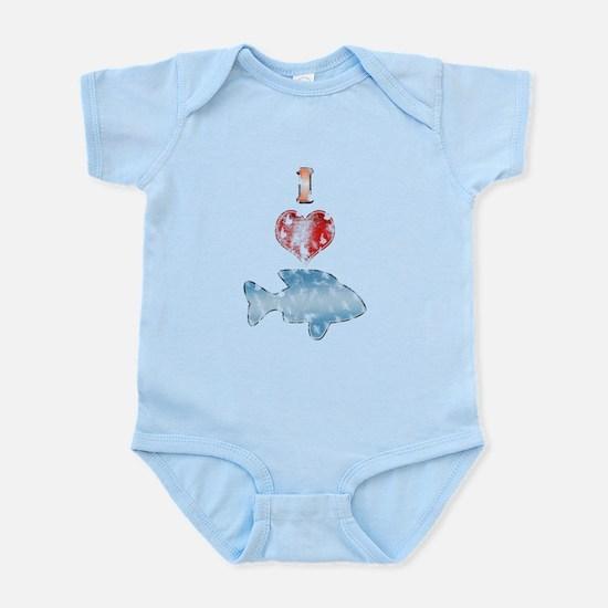 Vintage I Heart fish Infant Bodysuit