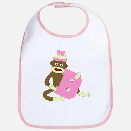 Sock Monkey Monogram Girl B Baby Bib