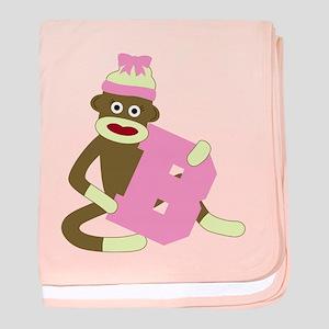 Sock Monkey Monogram Girl B baby blanket