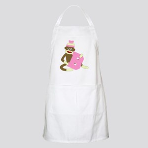 Sock Monkey Monogram Girl B Apron