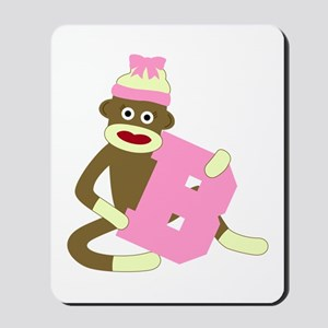 Sock Monkey Monogram Girl B Mousepad