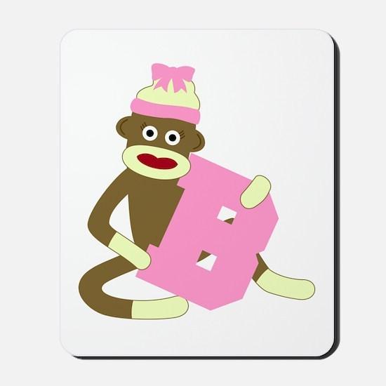 Sock Monkey Monogram Girl B Mousepad