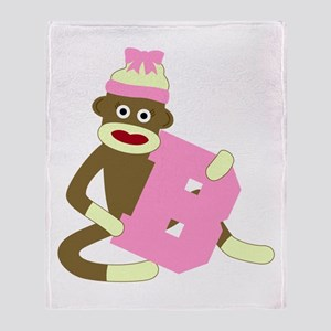 Sock Monkey Monogram Girl B Throw Blanket