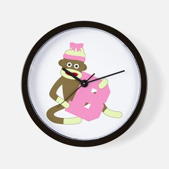 Sock Monkey Monogram Girl B Wall Clock