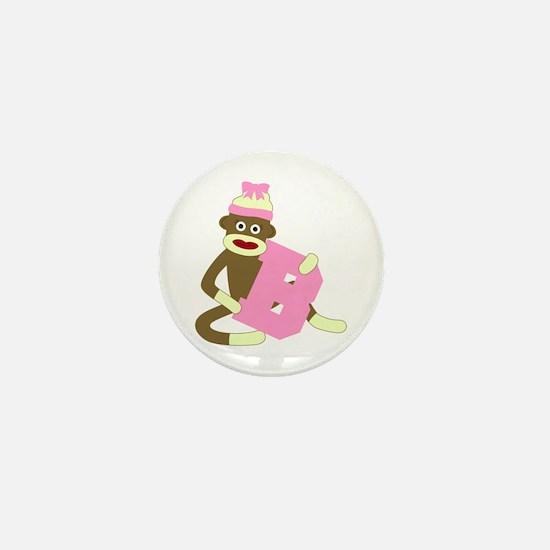 Sock Monkey Monogram Girl B Mini Button