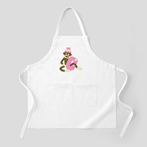 Sock Monkey Monogram Girl C Apron