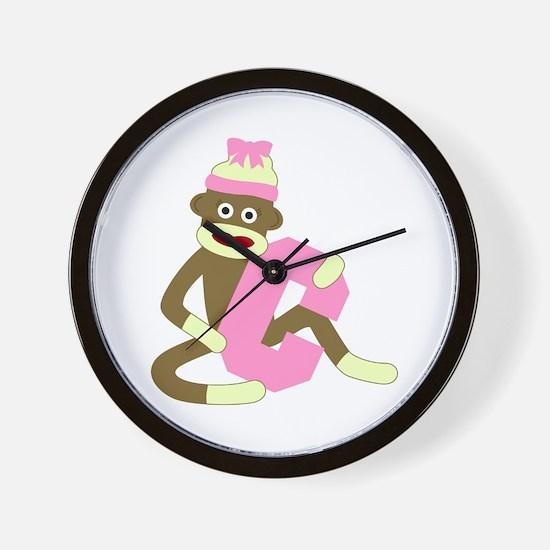 Sock Monkey Monogram Girl C Wall Clock