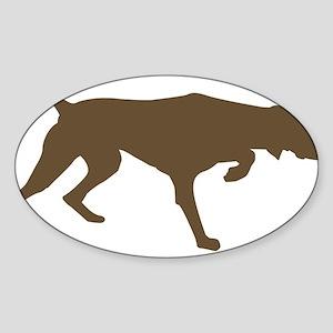 Weimaraner Silhouette Oval Sticker