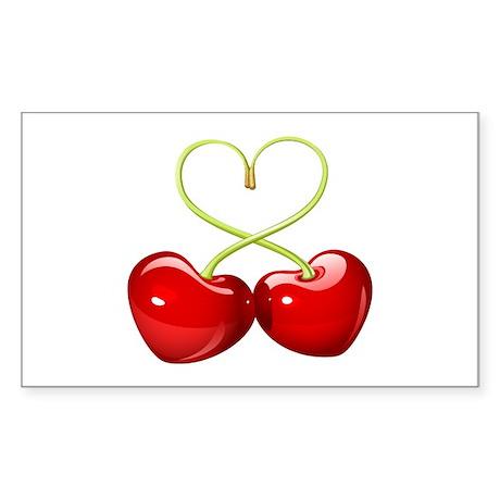 cherry love Sticker (Rectangle)