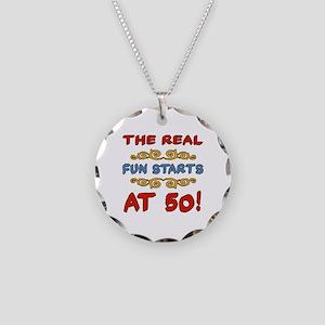 Real Fun 50th Birthday Necklace Circle Charm