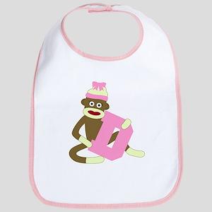 Sock Monkey Monogram Girl D Baby Bib