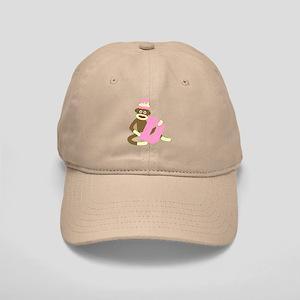 Sock Monkey Monogram Girl D Cap