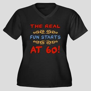 Real Fun 60th Birthday Women's Plus Size V-Neck Da