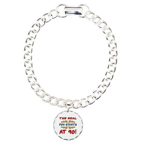 Real Fun 90th Birthday Charm Bracelet, One Charm