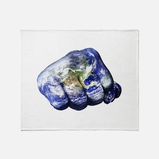 Mohammed Ali Right Earth Fist Throw Blanket