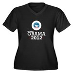 Re-elect Obama 2012 Women's Plus Size V-Neck Dark