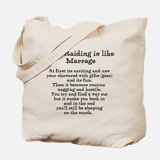 Raiding vs Marrage Tote Bag