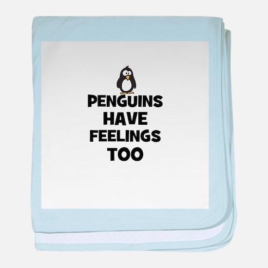 penguins have feelings too baby blanket